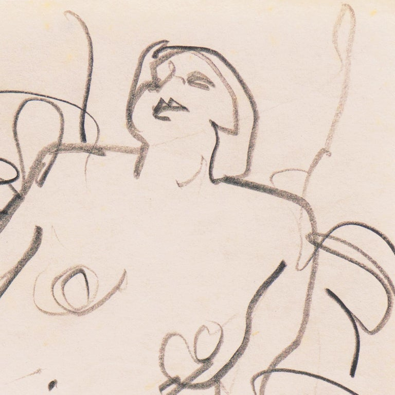Di Gesu Estate Stamp verso for Victor di Gesu (American, 1914-1988) and drawn circa 1955.  An elegant, freehand sketch of a young woman with a bob cut, shown naked and reclining on a blanket with her head thrown back.   Winner of the Prix Othon