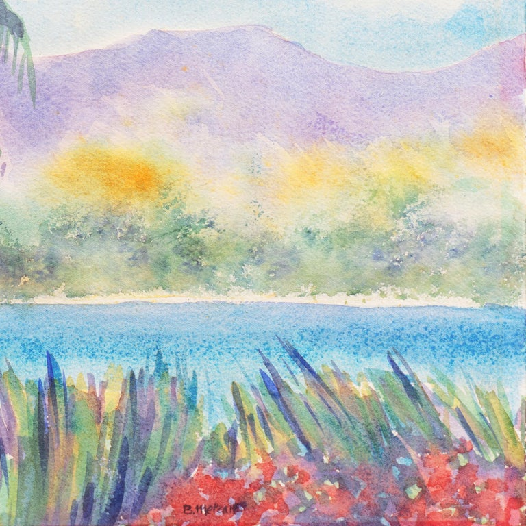 'Tropical Lagoon', Impressionist Landscape with Palm Trees and Bougainvillea For Sale 1