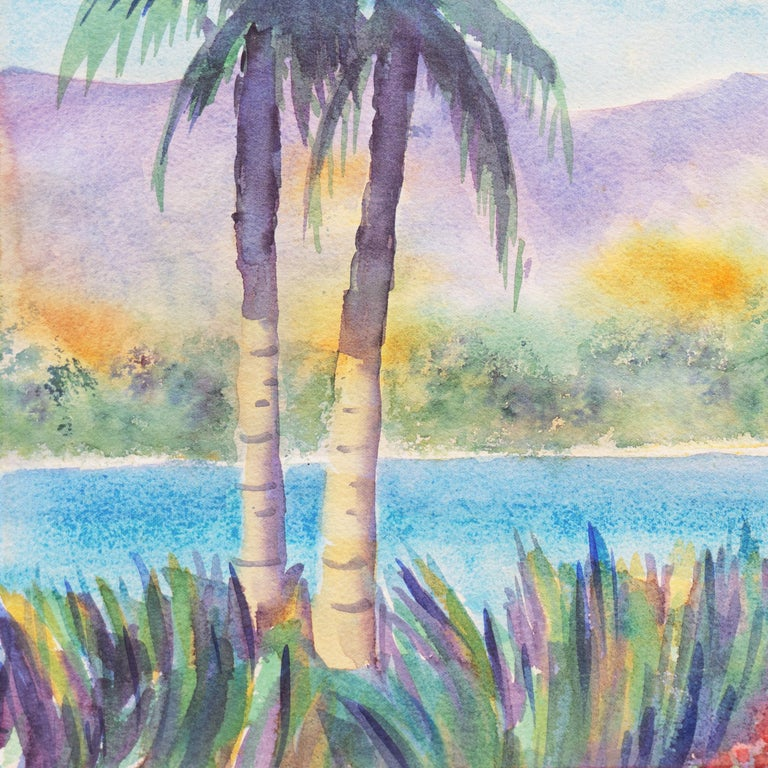 'Tropical Lagoon', Impressionist Landscape with Palm Trees and Bougainvillea For Sale 2