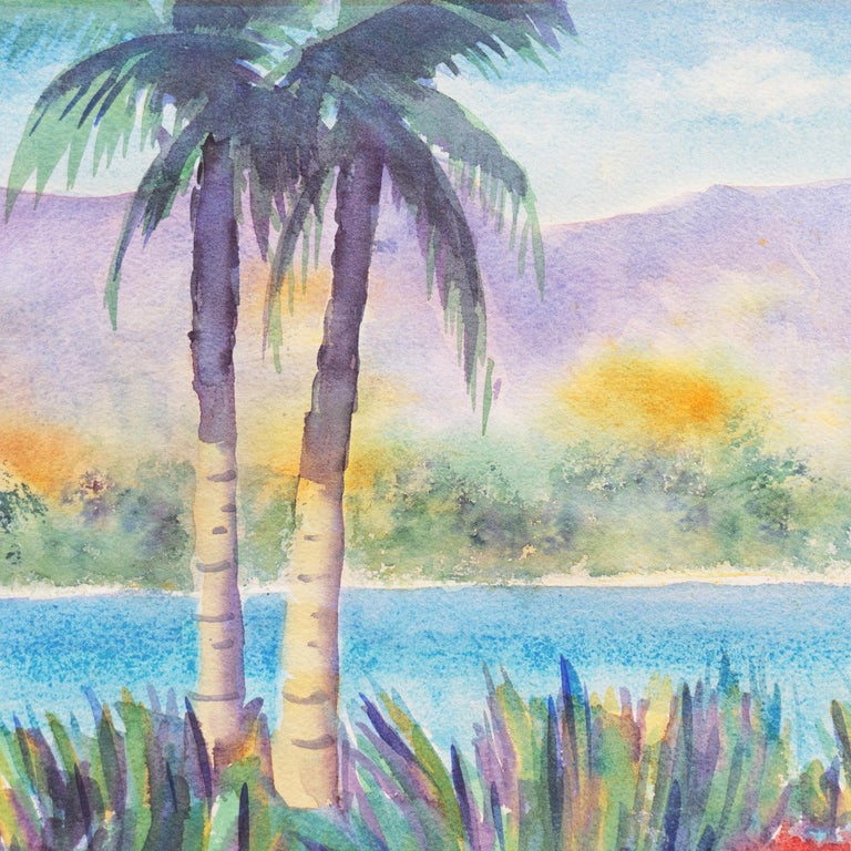'Tropical Lagoon', Impressionist Landscape with Palm Trees and Bougainvillea - Post-Impressionist Art by B. Metcalf