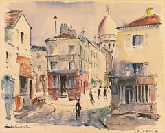 'Modernist View of Place du Tertre, Montmartre', Mid-century Paris