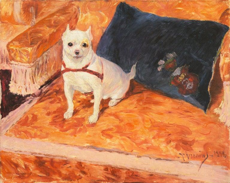 Carl Georg Arsenius Animal Painting - 'White Chihuahua on a Coral Sofa', Royal Swedish Art Academy Oil, Paris, Benezit