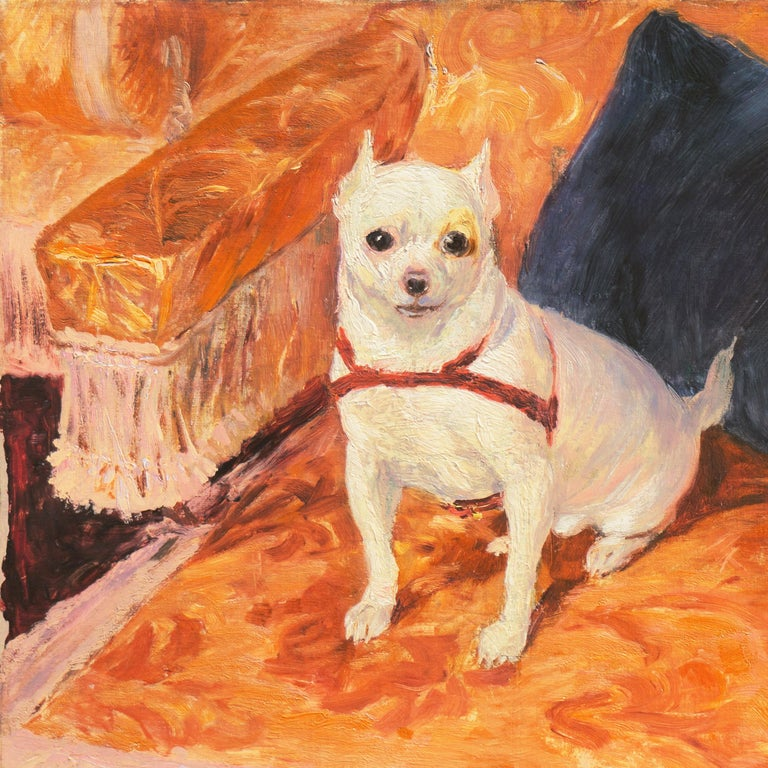 'White Chihuahua on a Coral Sofa', Royal Swedish Art Academy Oil, Paris, Benezit - Impressionist Painting by Carl Georg Arsenius