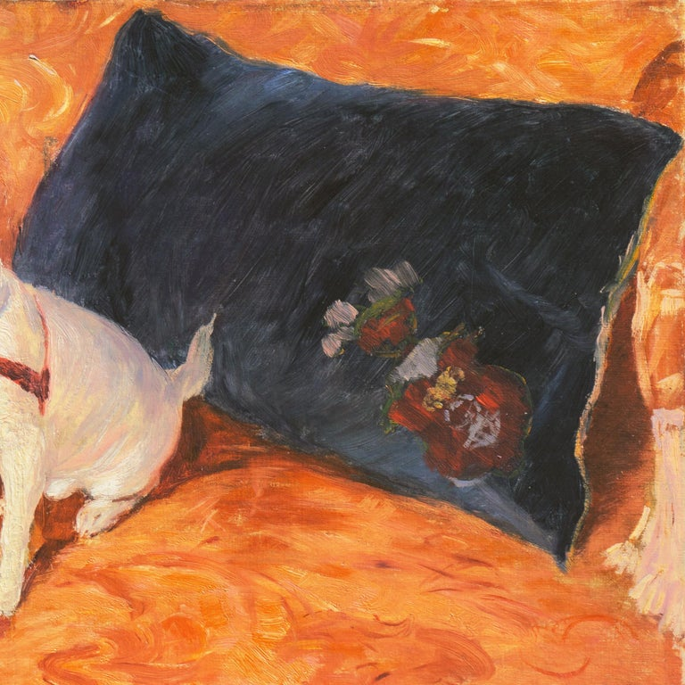 'White Chihuahua on a Coral Sofa', Royal Swedish Art Academy Oil, Paris, Benezit For Sale 1