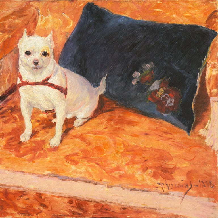 Signed lower right, 'G. Arsenius' for Carl Georg Arsenius (Swedish, 1855-1908) and dated 1888.  A late 19th century study of an apple-head Chihuahua shown seated on a Beaux-Arts style, coral-velvet upholstered sofa and gazing intently towards the
