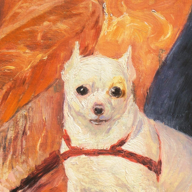'White Chihuahua on a Coral Sofa', Royal Swedish Art Academy Oil, Paris, Benezit - Brown Animal Painting by Carl Georg Arsenius