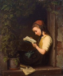 'A Quiet Moment', Munich School, German Figural Oil, Bremen, Young Girl Reading