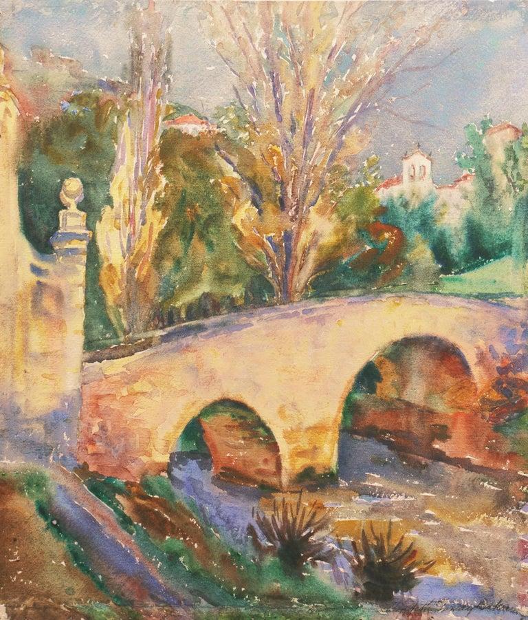 Elizabeth Gowdy Baker Landscape Art - 'Bridge in Segovia', Woman Artist, Paris Salon, Cooper Union, ASL, PAFA, AWS,