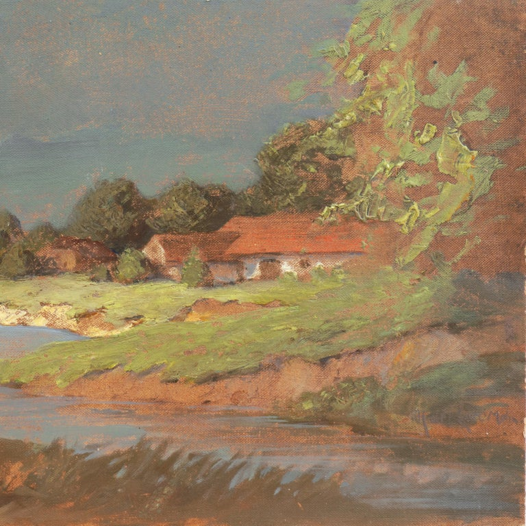 'Hungarian Landscape with Farmhouse', Munich School, National Academy, Budapest For Sale 1