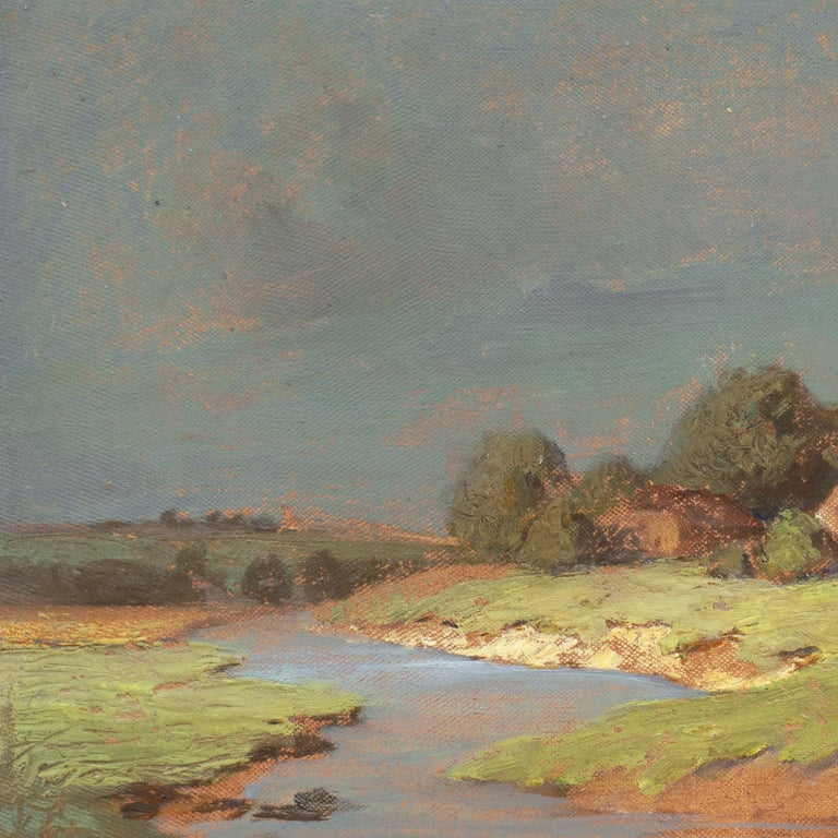 'Hungarian Landscape with Farmhouse', Munich School, National Academy, Budapest - Impressionist Painting by Endre Komaromi-Kacz