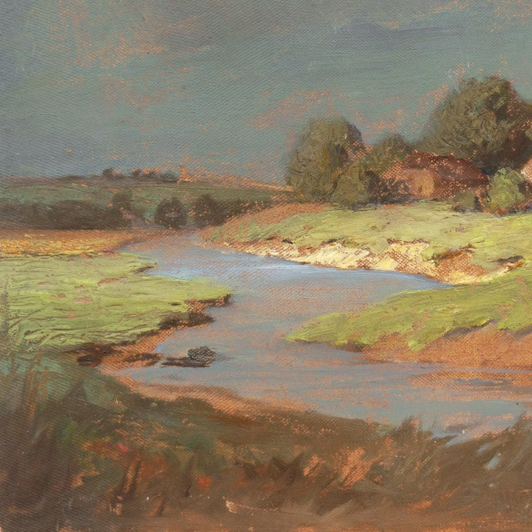 'Hungarian Landscape with Farmhouse', Munich School, National Academy, Budapest - Brown Landscape Painting by Endre Komaromi-Kacz