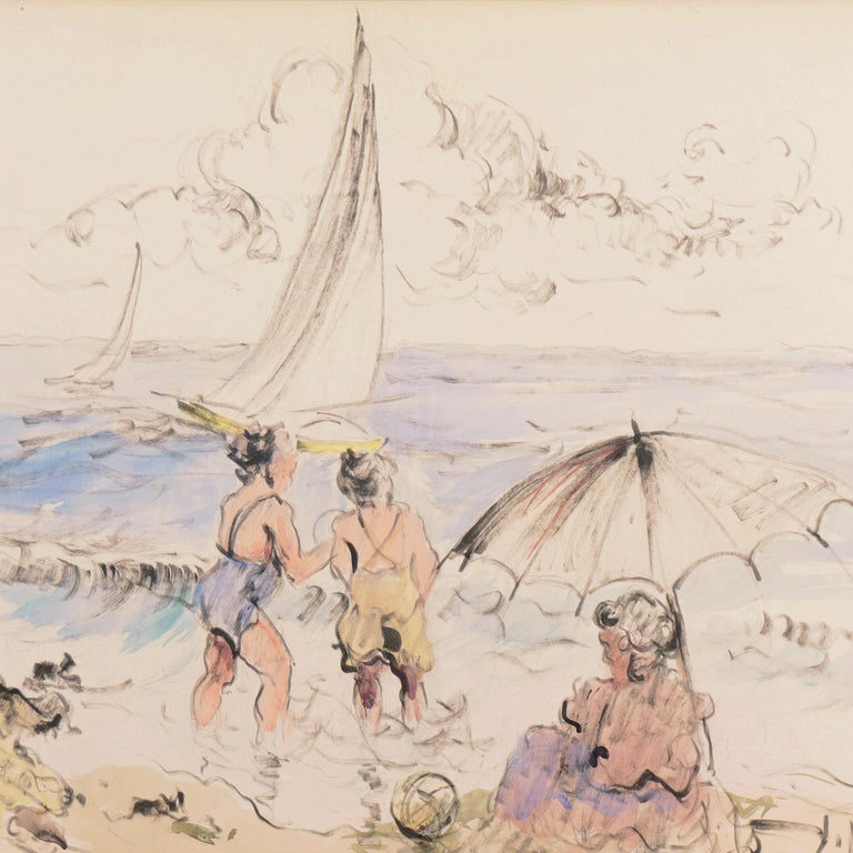 'Bathers at the Beach', Spanish Post-Impressionist, Catalan Artist, Screenwriter For Sale 1