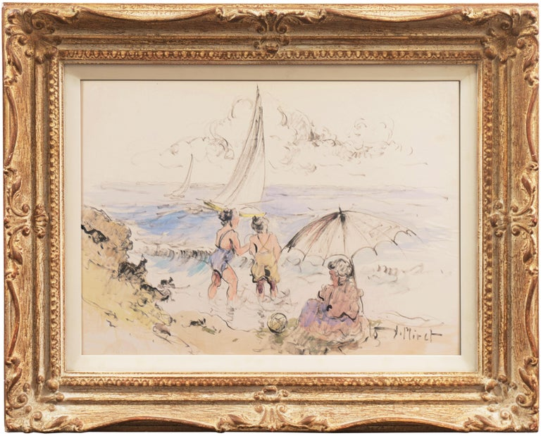 Ramon Miret Figurative Art - 'Bathers at the Beach', Spanish Post-Impressionist, Catalan Artist, Screenwriter