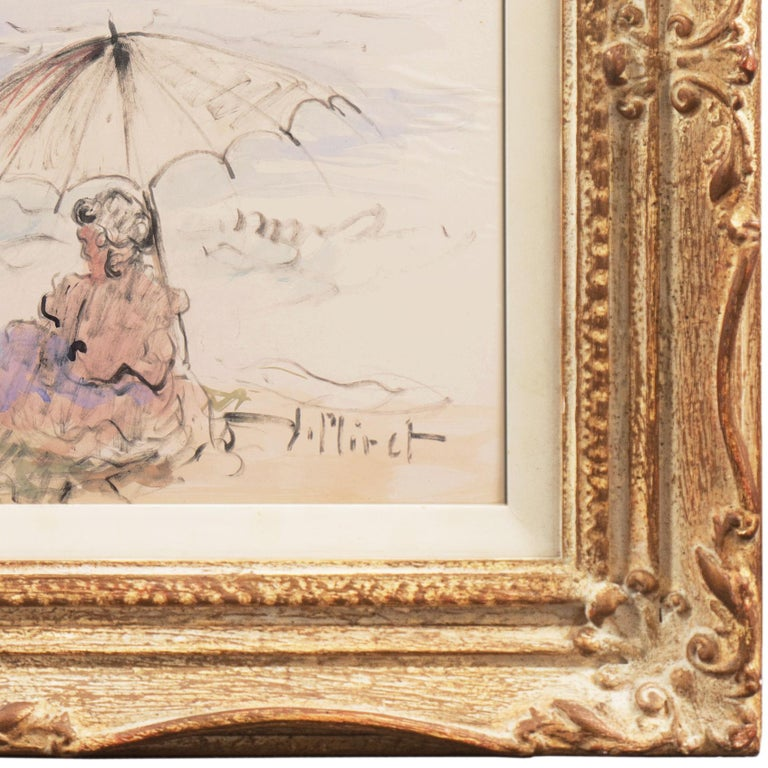 Signed lower right, 'Miret' for Ramon Miret (Spanish, 1897-1977) and painted circa 1950. Framed dimensions: 20 H x 25 W x 2 D inches  A period beach scene with two women paddling and another seated beneath an umbrella with a view beyond to a sailing