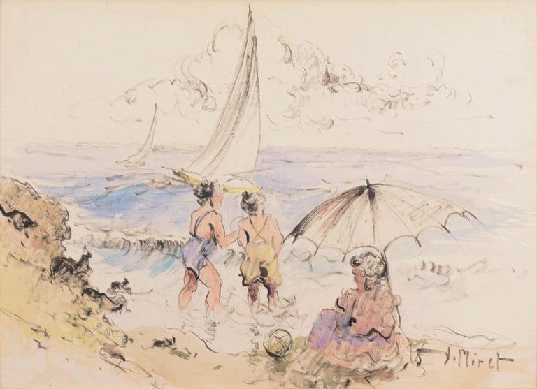 'Bathers at the Beach', Spanish Post-Impressionist, Catalan Artist, Screenwriter - Beige Figurative Art by Ramon Miret