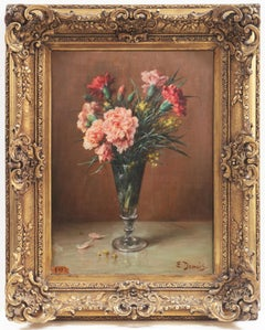 'Pink and Red Carnations', Floral Oil Still Life, Benezit, Paris Salon