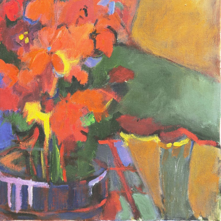 Signed verso, on stretcher bar, 'Janice Haefner' (American, 1919-2002) and painted circa 1960.  A substantial mid-century, Expressionist figural abstraction showing two women seated beside a large bouquet of flowers, set against a background of