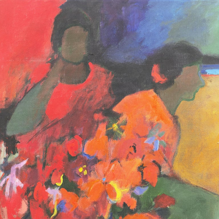'Women with Flowers', Early Los Altos California Modernist, Floral Still Life - Painting by Janice Haefner