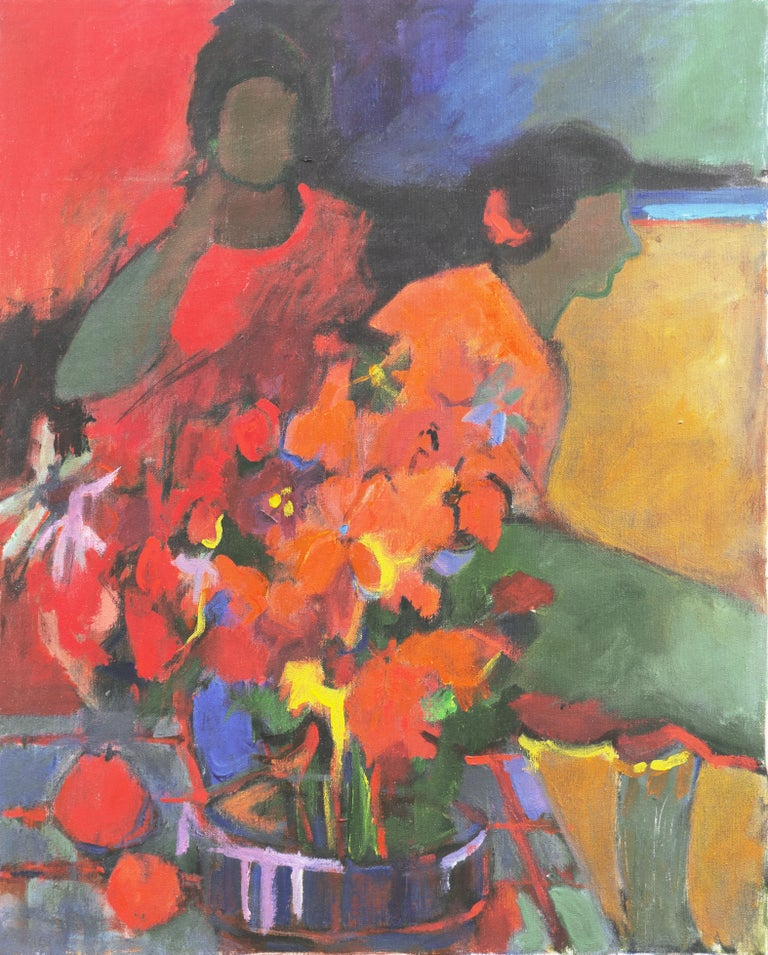 Janice Haefner Figurative Painting - 'Women with Flowers', Early Los Altos California Modernist, Floral Still Life