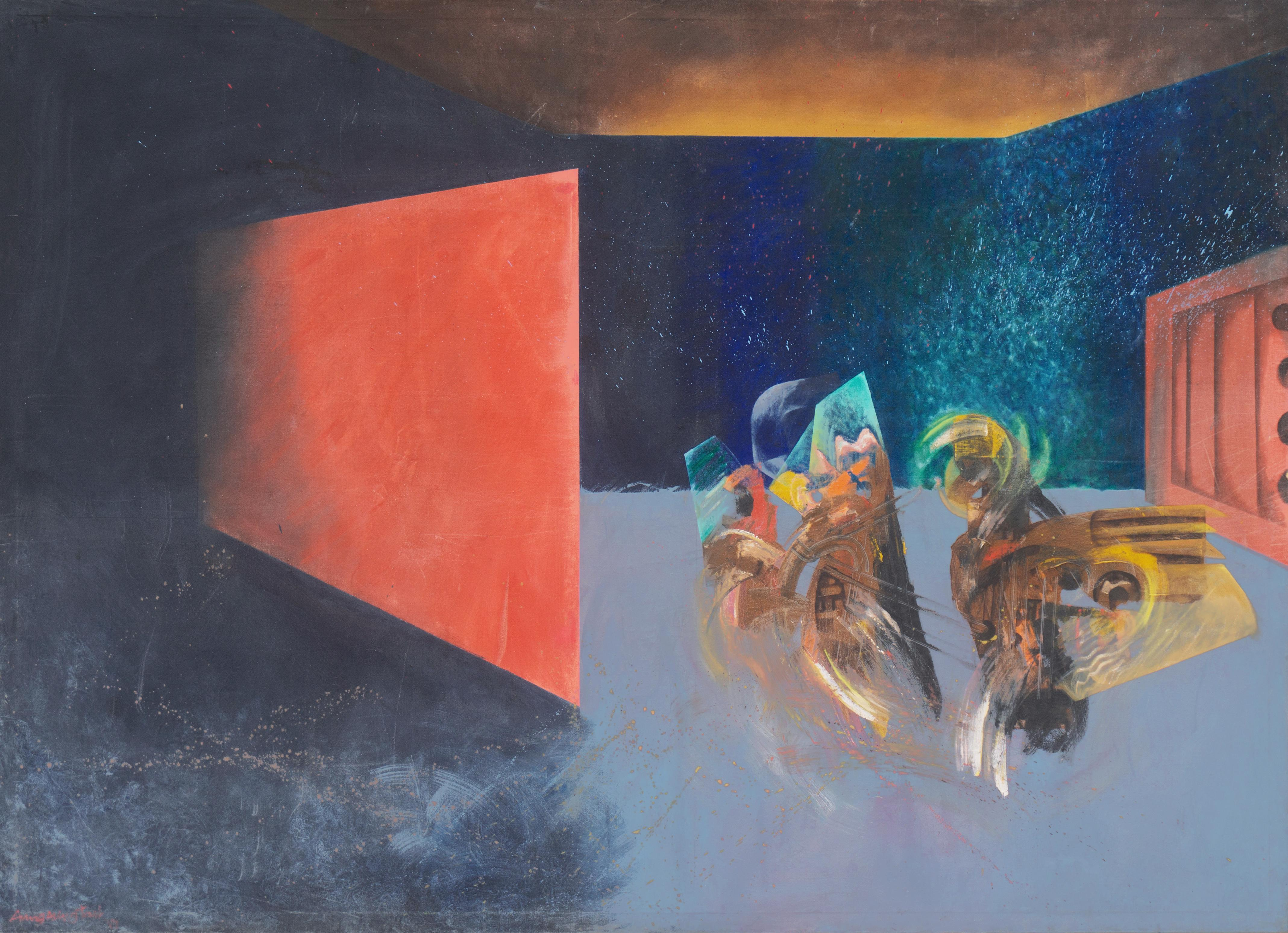 'Two Burmese Dancers', Large Modernist Oil, Myanmar, Rangoon, SFMA, SFAI, PFA