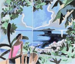 'Mimosa Tree Restaurant, Santorini', Agaean Sea, Greece, Japanese artist