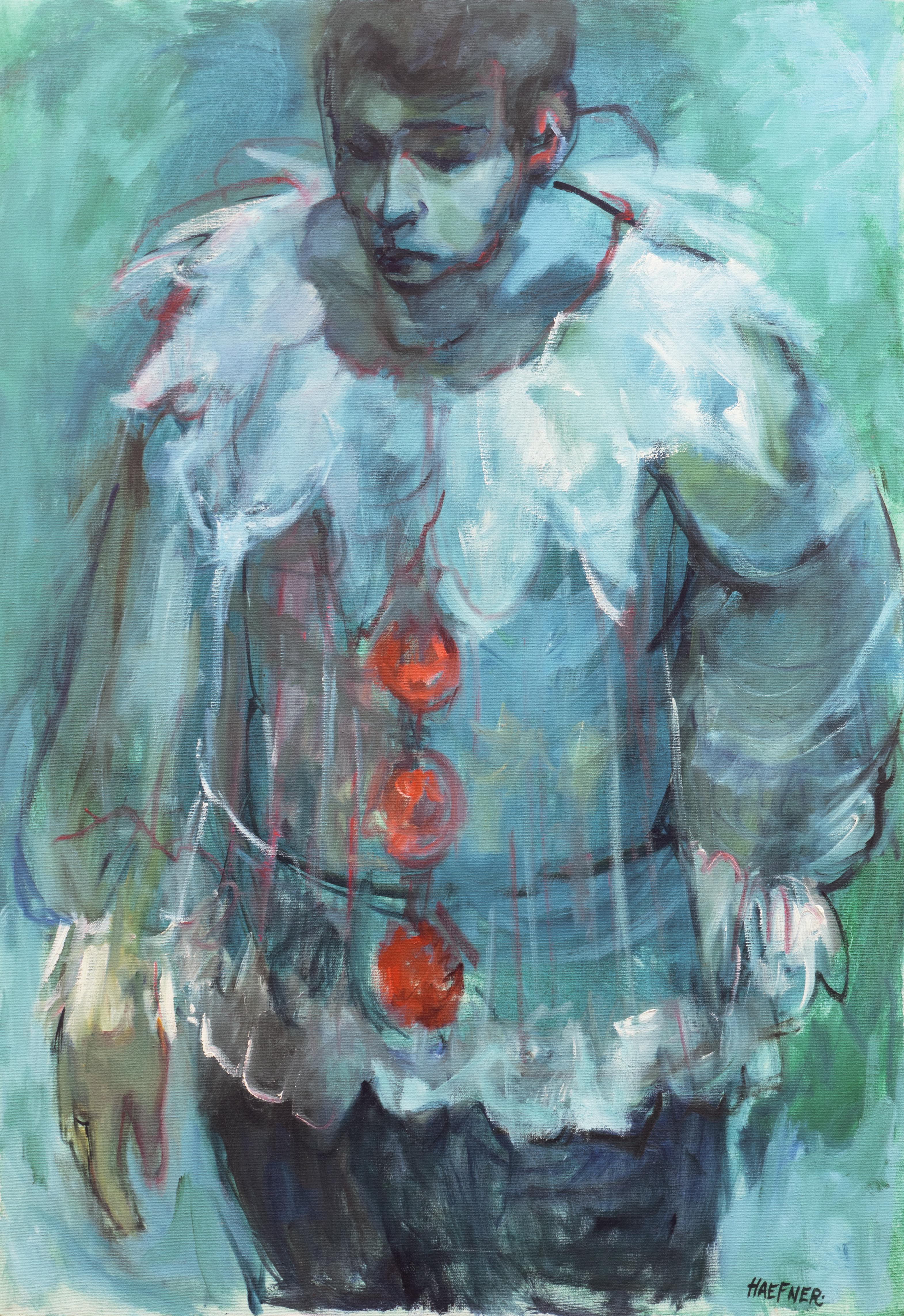 'Pierrot in Blue', Large Figural Oil by Early Los Altos, California Modernist