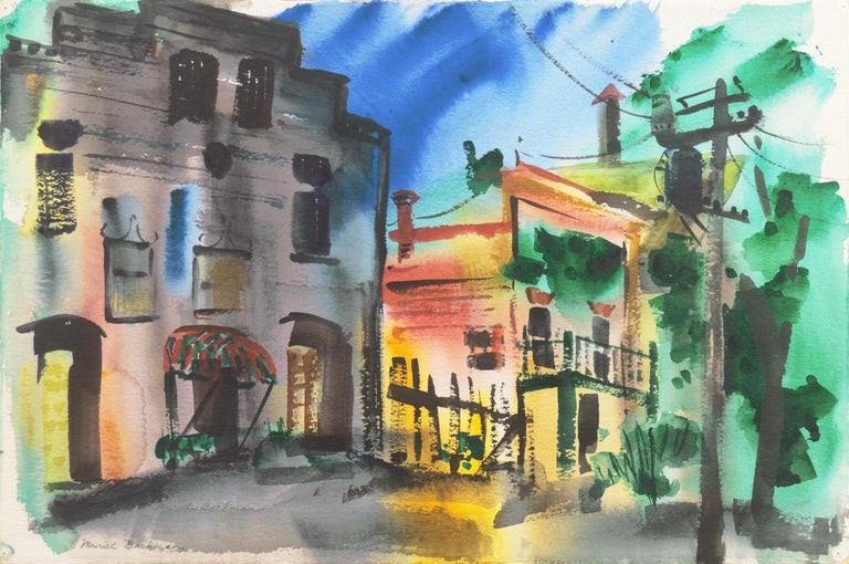 Muriel Backman Landscape Art - 'Main Street, Port Costa', California Woman Post Impressionist, Crocker Museum,