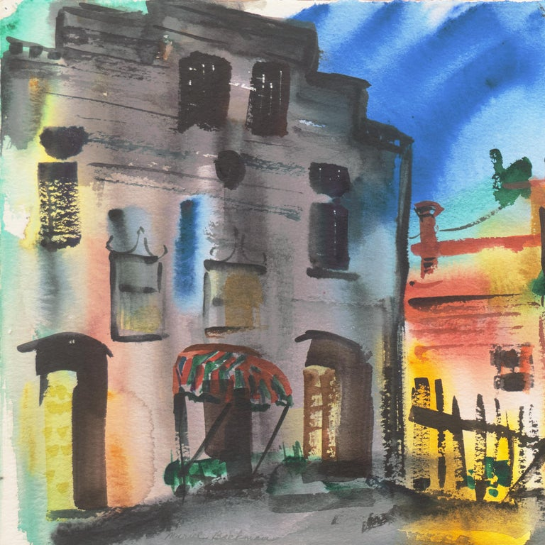 'Main Street, Port Costa', California Woman Post Impressionist, Crocker Museum, - Post-Impressionist Art by Muriel Backman