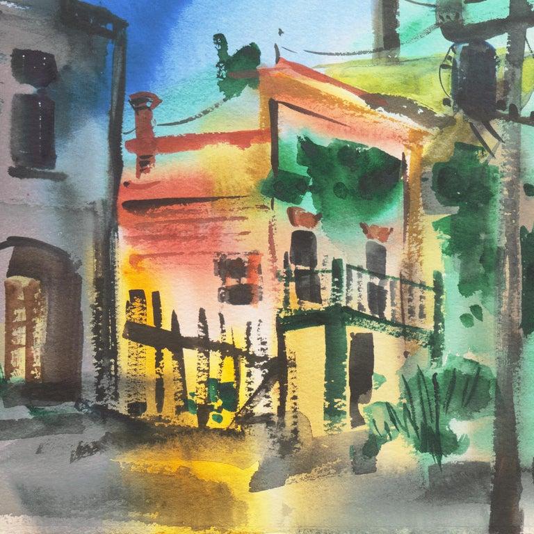 'Main Street, Port Costa', California Woman Post Impressionist, Crocker Museum, - Gray Landscape Art by Muriel Backman