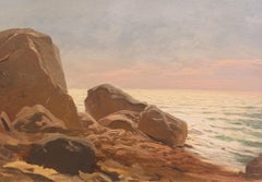 'Evening Light, Rocky Shore', American School Impressionist Seascape, Pacific