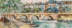 'Pont Marie, the Seine', School of Paris, Parisian Oil Landscape, Cityscape