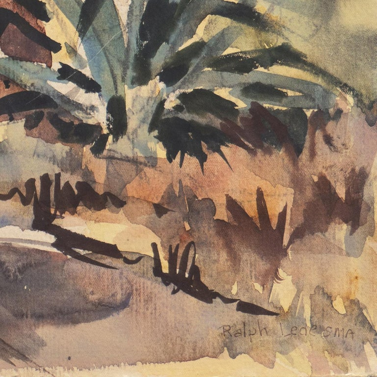 'Impressionist Landscape with Agave', Sequoia Art Group, California Plein Air - Brown Landscape Art by Ralph Ledesma