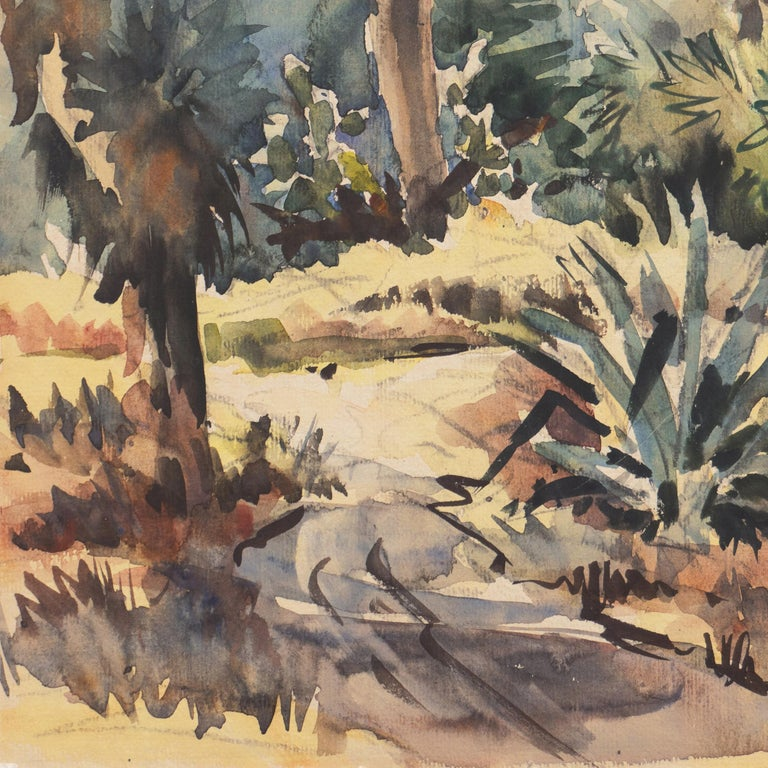 Signed lower right, 'Ralph Ledesma' (American, 1910-1993) and painted circa 1950.  An impressionist watercolor showing a view of a Southern California garden with palm trees and agave.   Ralph Ledesma was born in Hawaii and moved to California as a
