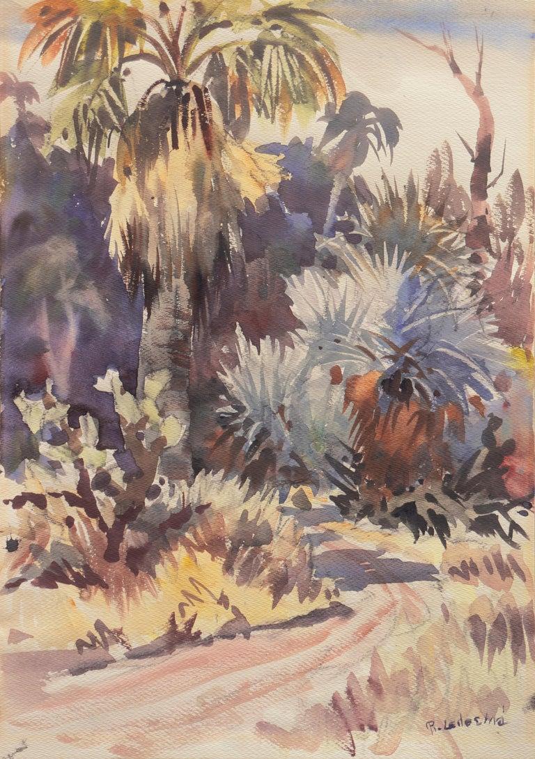 Ralph Ledesma Landscape Art - 'Southern California Landscape with Palm Trees', Sequoia Art Group, Redwood City