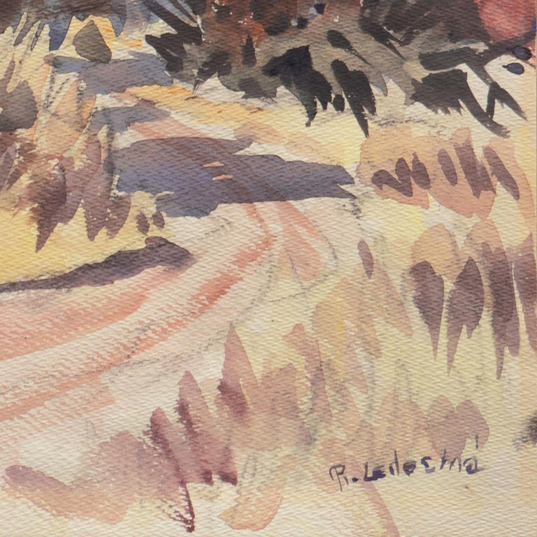'Southern California Landscape with Palm Trees', Sequoia Art Group, Redwood City - Brown Landscape Art by Ralph Ledesma