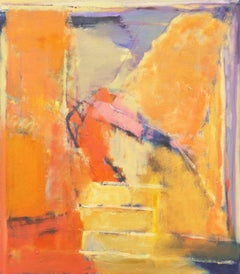 'Abstract in Saffron & Lilac', Danish Woman Artist, Large Aarhus Art Academy Oil