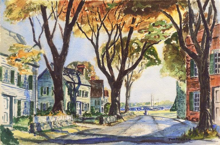 Thomas McCobb Landscape Art - 'New England Harbor', Cazenovia Watercolor Society, Connecticut, Adirondacks