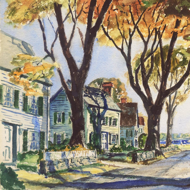 'New England Harbor', Cazenovia Watercolor Society, Connecticut, Adirondacks - Impressionist Art by Thomas McCobb