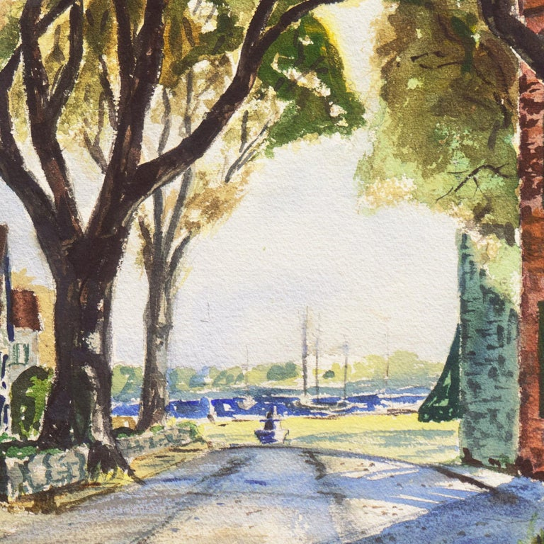 'New England Harbor', Cazenovia Watercolor Society, Connecticut, Adirondacks For Sale 1