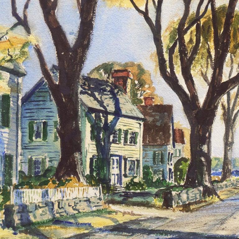 'New England Harbor', Cazenovia Watercolor Society, Connecticut, Adirondacks - Gray Landscape Art by Thomas McCobb