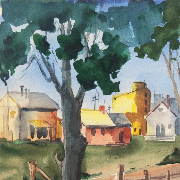 'University Village, Berkeley' Carmel, California, Woman Post Impressionist - Gray Landscape Art by Muriel Backman