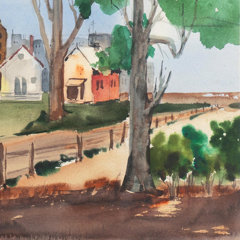 Signed verso, 'M. Backman' for Muriel Backman (American, 1902-1996), titled 'University Village', dated 1958 and with inscription verso, 'Demonstration painting- horizontal and vertical pattern'; additionally inscribed with title and artist name.