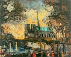 'Sunset over Notre-Dame', French Post-Impressionist Oil, Île de la Cité, Paris