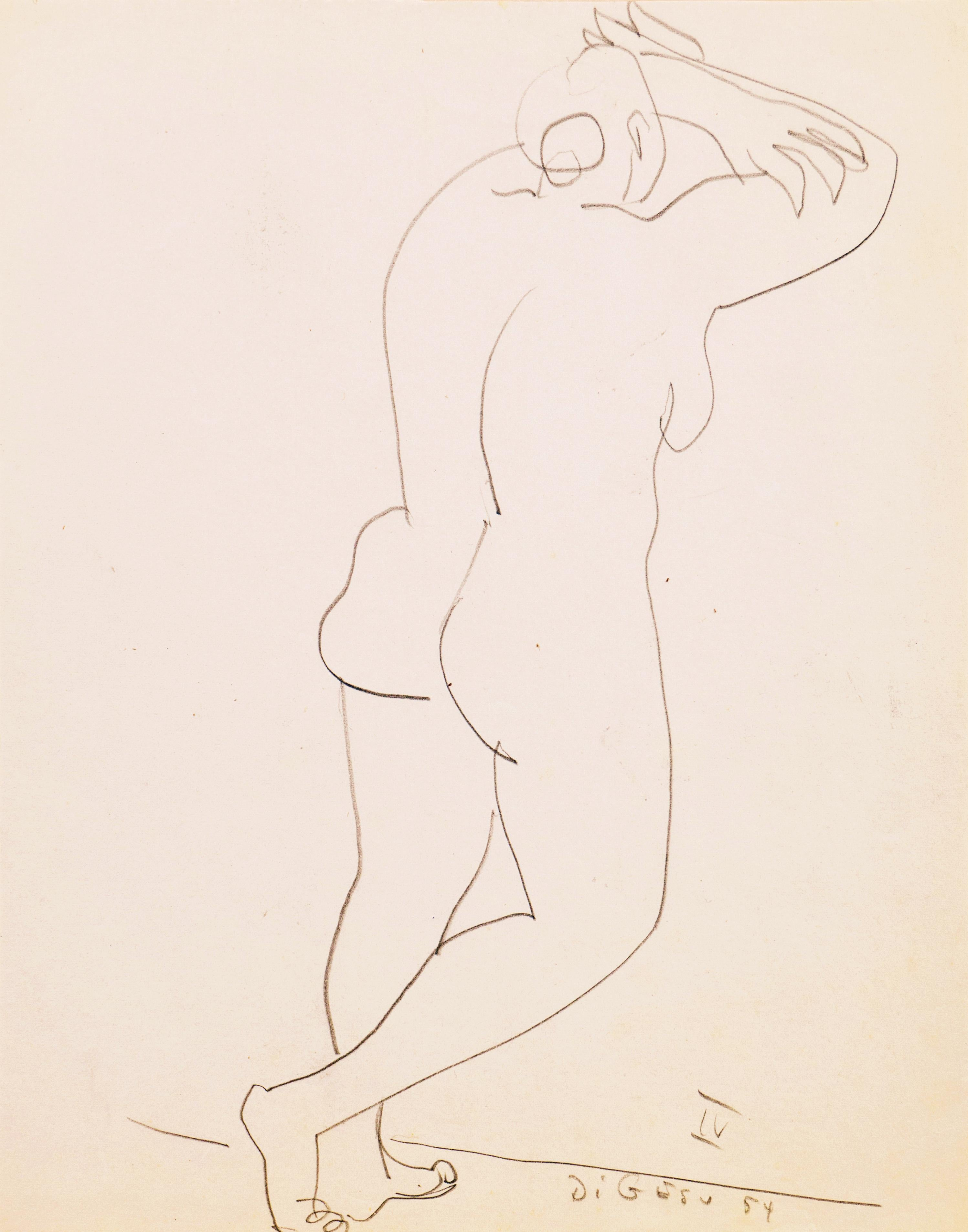 'Standing Nude', California, Paris, Louvre, Academie Chaumiere, SFAA, LACMA