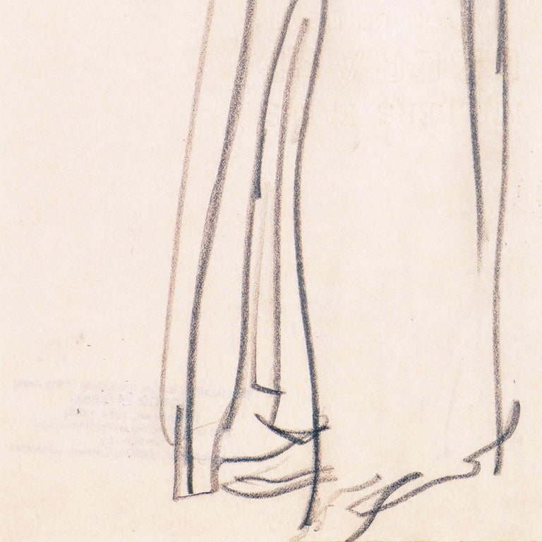 Created circa 1955 by Victor Di Gesu (American, 1914-1988) and stamped verso with certification of authenticity.   A bravura pencil study of a young woman in an overcoat, shown standing with her arms raised and head thrown back and wearing an