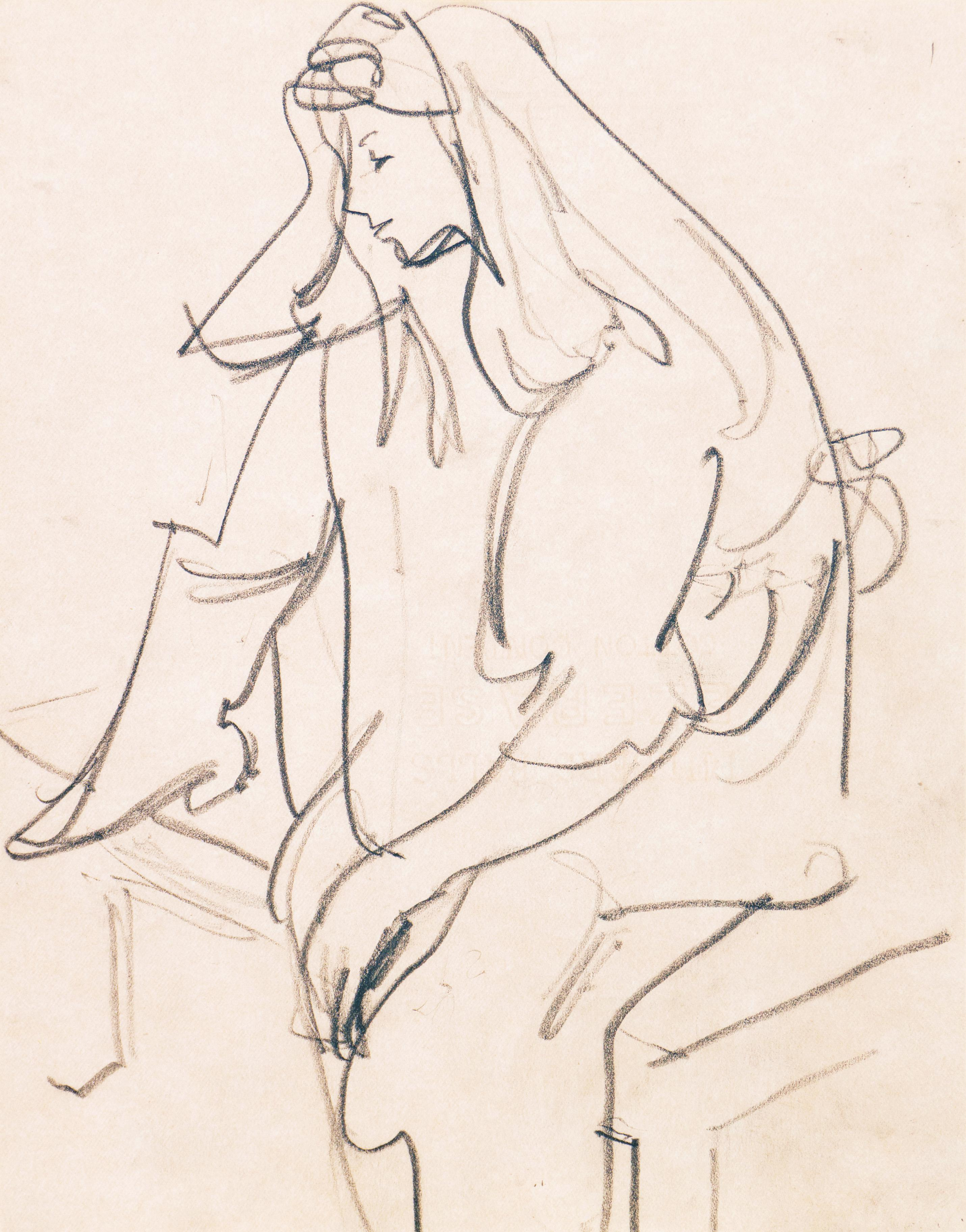 'Woman Seated', Carmel Artist, Louvre, Academie Chaumiere, Paris, SFAA, LACMA