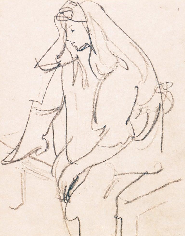 Victor Di Gesu Figurative Art - 'Woman Seated', Carmel Artist, Louvre, Academie Chaumiere, Paris, SFAA, LACMA