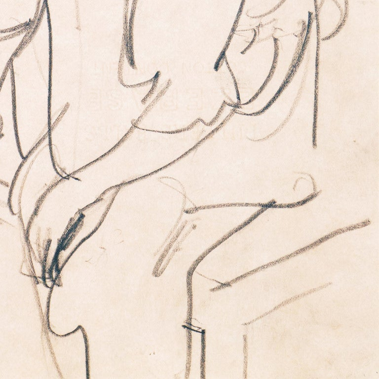Created circa 1955 by Victor Di Gesu (American, 1914-1988) and stamped verso with certification of authenticity.   An atmospheric and psychologically penetrating figural drawing, showing a pensive young woman wearing boots, seated on the edge of a