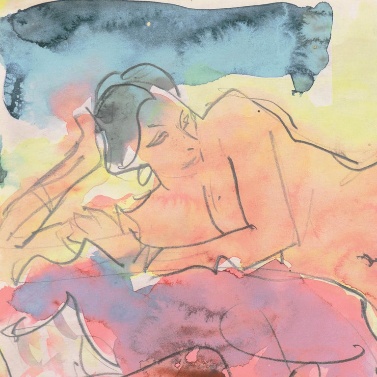 'Reclining Nude', Carmel, California, Louvre, Academie Chaumiere, SFAA, LACMA - Post-Impressionist Art by Victor Di Gesu