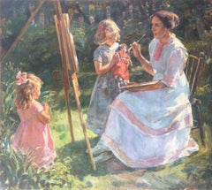 'The Artist's Wife and Children in the Garden', Large Danish Impressionist Oil